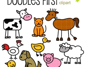 Stick Farm Animals Doodles Digital Clip Art for Scrapbooking Card Making Cupcake Toppers Paper Crafts