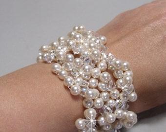 Pearl Cuff, Pearl Bridal Cuff Bracelet, Chunky Bracelet, Statement Pearl & Crystal Cuff, Clustered Cuff Bracelet, Swarovski KATRINA GRANDE