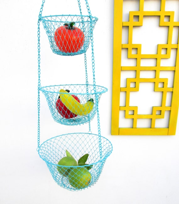 Kitchen Accessories 3 Tier Wire Fruit Basket: Vintage Three-Tiered Turquoise Metal Hanging Baskets Fruits