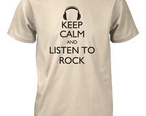 Men's Keep Calm and Listen to Rock Funny T-Shirt Music Drums Guitar Band Tee