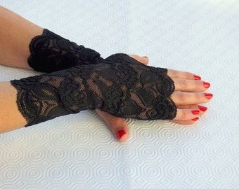 Lace fingerless gloves. Elastic floral lace mittens, Black/ Gold/ Red/ White/ Ivory lace gloves.