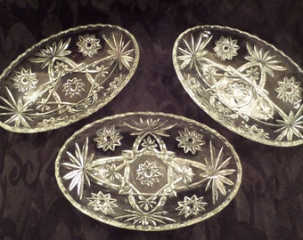 Vintage Ornate Pressed Glass Oval Glass Bowls - Hard-To-Find Shape - Beautiful!