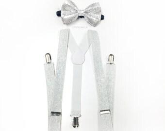 silver bowtie and suspenders set, silver sequin bow tie, white silver glitter suspenders, suspenders set, men's suspenders, groomsmen gift