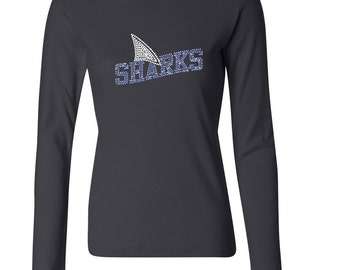 Rhinestone Sharks Long Sleeve Crew Neck Fitted Tee~ Choose Color