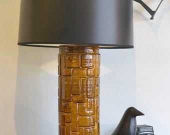 Gold and Black Mid Century Ceramic Lamp