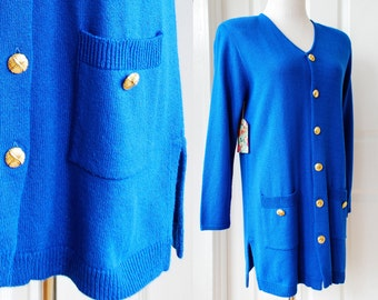 Blue Cardigan Sweater with Gold Buttons by Laura