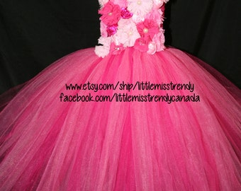 Pink Couture  Flower Girl Tutu Dress, Pink Flower Girl Tutu Dress, Flower Girl Tutu, Tutu Dress with Flowers, Flower Girl  Dress, Couture