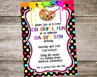 Paint Party Invitation 5x7 Polka Dot Party Invitation Craft Party Invitation Birthday