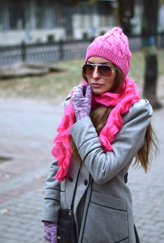 Pink knit beanie hat, Neon pink hat, Winter knit hat, Christmas gift