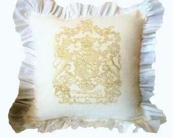 White Linen Pillow, French Pillow, Ruffle Pillow, Crest Pillow