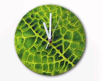 Original Painting GREEN WALL CLOCK, Leaf clock, green clock, green home decor, Leaf decor