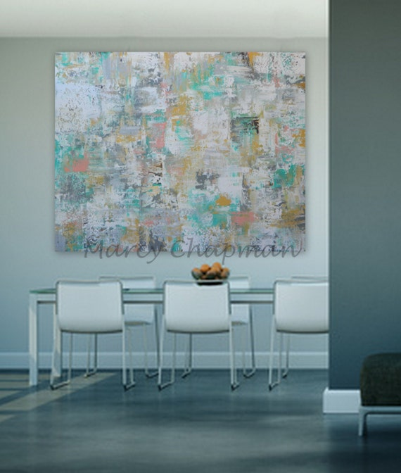 huge large  Original Modern Abstract Painting turquoise yellow blue gray red orange green custom order abstract painting comission artwork