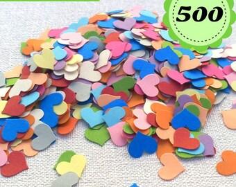 Multicolor Confettis - 500 heart- Scrapbooking - Party confetti - Hearts paper confetti - heart confetti - wedding confettis  table confetti