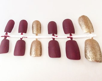 Matte Fake Nail Set - Red False Nails - Gold Acrylic Nails -  Glitter Artificial Nail - Press On Nails - Glue On Nails - Gifts For Her