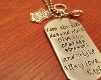 Hand stamped dog tag necklace police/military necklace for men or women. Keep him safe day and night-Policeman gift-Police officer gift
