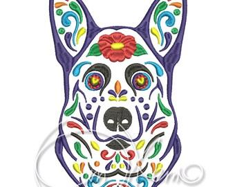 MACHINE EMBROIDERY DESIGN - Calavera German Shepherd, Dia de los muertos, Mexican design, Halloween design, calavera dog, Day of the dead