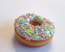 Pastel Blue Doughnut with Sprinkles Magnet, Polymer Clay Food Decor