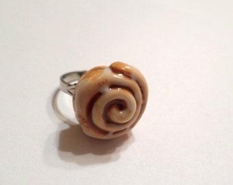 Cinnamon Roll Adjustable Ring, Polymer Clay Food Jewelry