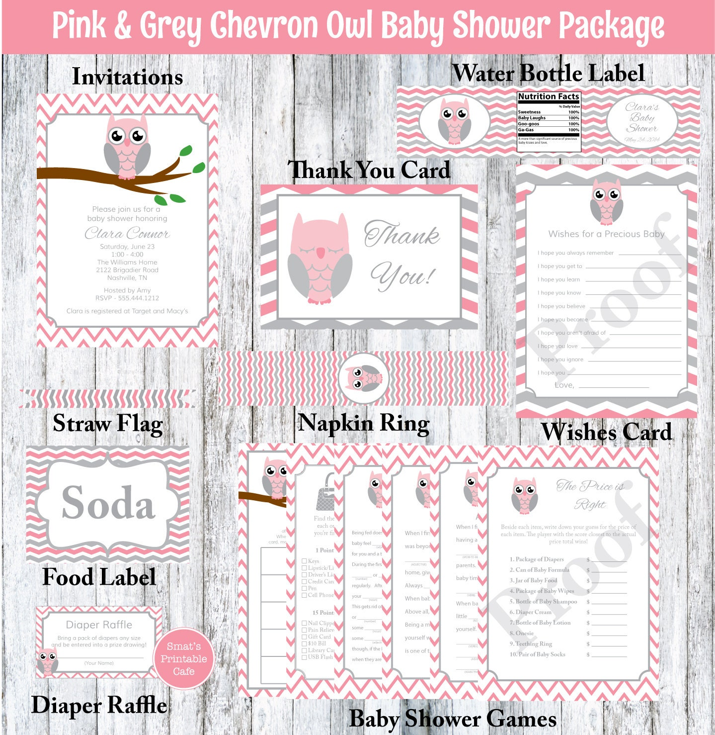 pink gray chevron owl baby shower package printable