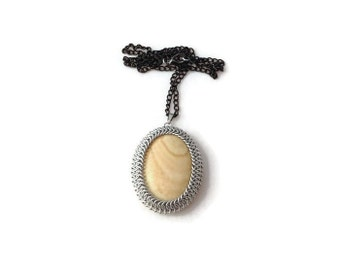 Chainmaille Wrapped Pendant - Picture Jasper Pendant - Statement Necklace