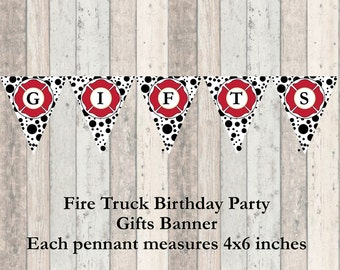 Firetruck Birthday Party Dalmation Gifts Banner - Decorations