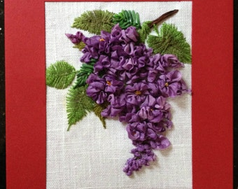 Lilac Silk Ribbon Embroidered Card