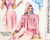 1940 Pin Up Nightgown and Bed jacket Pattern McCall 781 Glamorous Design +Embroidery Transfer Vintage Sewing Pattern UNCUT