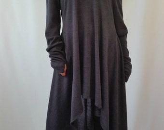 Grey Asymmetrical Sweater Top / Long Sleeve Sweater Dress / Knitwear cotton dress / EXPRESS SHIPPING / MD 10005