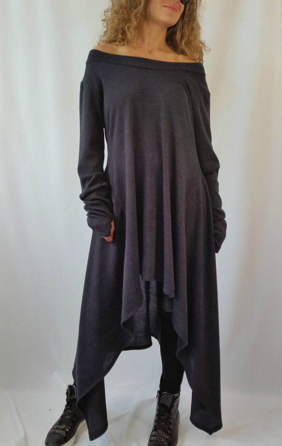 Grey Asymmetrical Sweater Top Long Sleeve Sweater Dress