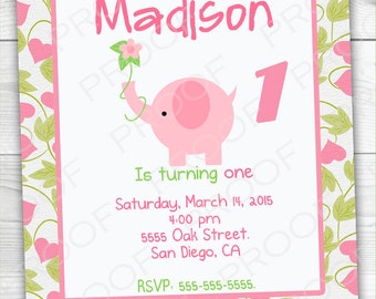 Girl Pink Elephant First Birthday Invitation -Digital Printable