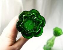 SALE - Perfume Bottles - Green Glass - Old Avon Bottles