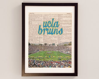 UCLA Bruins Art Print - Rose Bowl Stadium, Pasadena, California - Vintage Dictionary - California, Los Angeles, Graduation Print