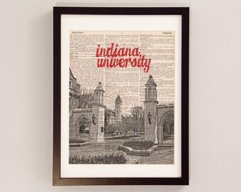 Indiana University Dictionary Art Print - Sample Gates - Print on Vintage Dictionary Paper - IU Hoosiers, Campus Print, Graduation Gift