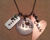 """Hand Stamped Metal  """"Faith, Hope, Love"""" or """"SISTER"""" necklace"""