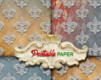 FLEUR DE LIS  -  4 SHEETs Printable wrapping paper for Scrapbooking, Creat - Download and Print