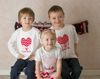 Girls boys valentines day heart embroidered personalized custom name sibling brother sister shirt