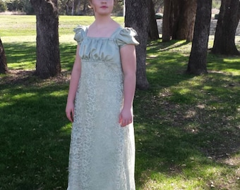 Sage Green Regency Ball Gown Ladies Size Medium-Ready to Ship