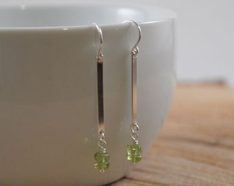 Peridot Faceted Nuggets with Sterling Silver Bar Dangle Earrings, Sterling Silver Bar Connector, Green Earrings, August Birthstone