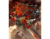 """Raijin (雷神)  God of lightning and thunder, watercolor on silk. (all artworks are sold without the """"Calliope's Bucket"""" stamp)"""