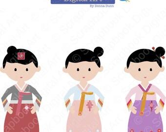 Korean Girl Hanbok, Hanbok Clip Art, Hanbok Girl, Korean Traditional Dress Clip Art, Korea Clipart, Korean Hanbok Dress, Joseon-ot.
