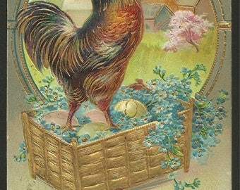 Vintage Embossed Postcard 1910 Easter Greetings with a Basket of Eggs and a Rooster  (1309)