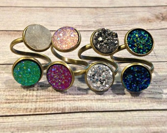 Custom Druzy Cocktail Ring, Reversible Crushed Crystal Ring, Custom Druzy Ring, Reversible Ring in Antique Gold, Personalized Ring