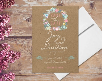 Kraft Save The Date Cards / Rustic Chic Invitations for Rustic Weddings / Whimsical Floral Wreath Pastel Flowers / PRINTED Save-The-Date
