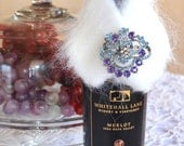 Wine Bottle, Champagne Bottle Collar, Wrap, Wrapping, Christmas White Faux Fur Hostess Gifts Parties, Weddings