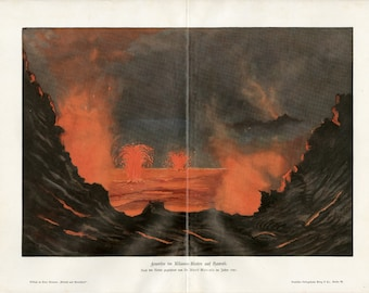 "Awesome Antique Volcano ""Kilauea"" Print  C. 1900   Volcanic Eruption Hawaii Lithograph"