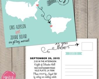 Destination Wedding Invitation Postcard - Travel Theme - Custom Countries - Coral & Aqua - Printable - DIY
