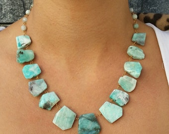 Dissimilar Light Blue Amazonite necklace. Wire wrapped necklace. Feel the energy of stones. . Ready to ship US