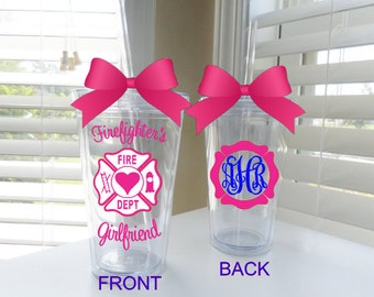 Firefighter girlfriend double wall tumbler - done in your choice of colors (up to 3)