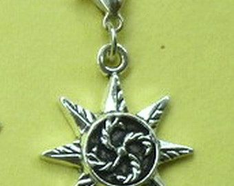Dangle Sun Burst Silver for Bracelets, Floating Charm Pendants, Necklaces & Key  D022