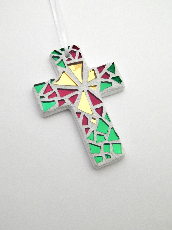 Christmas Ornament Mosaic Cross GoldGreenRed Mirror